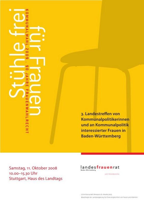 """2008 - 3. Landestreffen """"Stühle frei für Frauen!"""""""