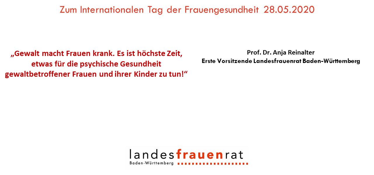 Zum Internationalen Tag der Frauengesundheit - Prof. Dr. Anja Reinalter, Erste Vorsitzende Landesfrauenrat Baden-Württemberg