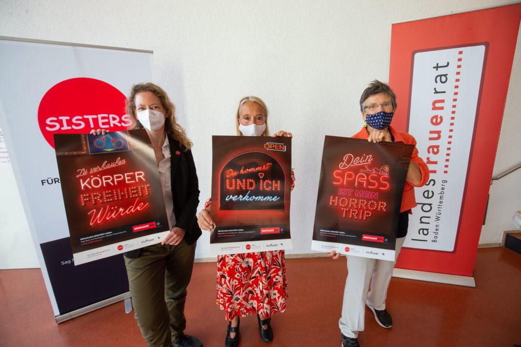 Vorstellung der Kampagne durch v.L.: Karen Ehlers , Ursula Matschke und Prof.Dr. Monika Barz.