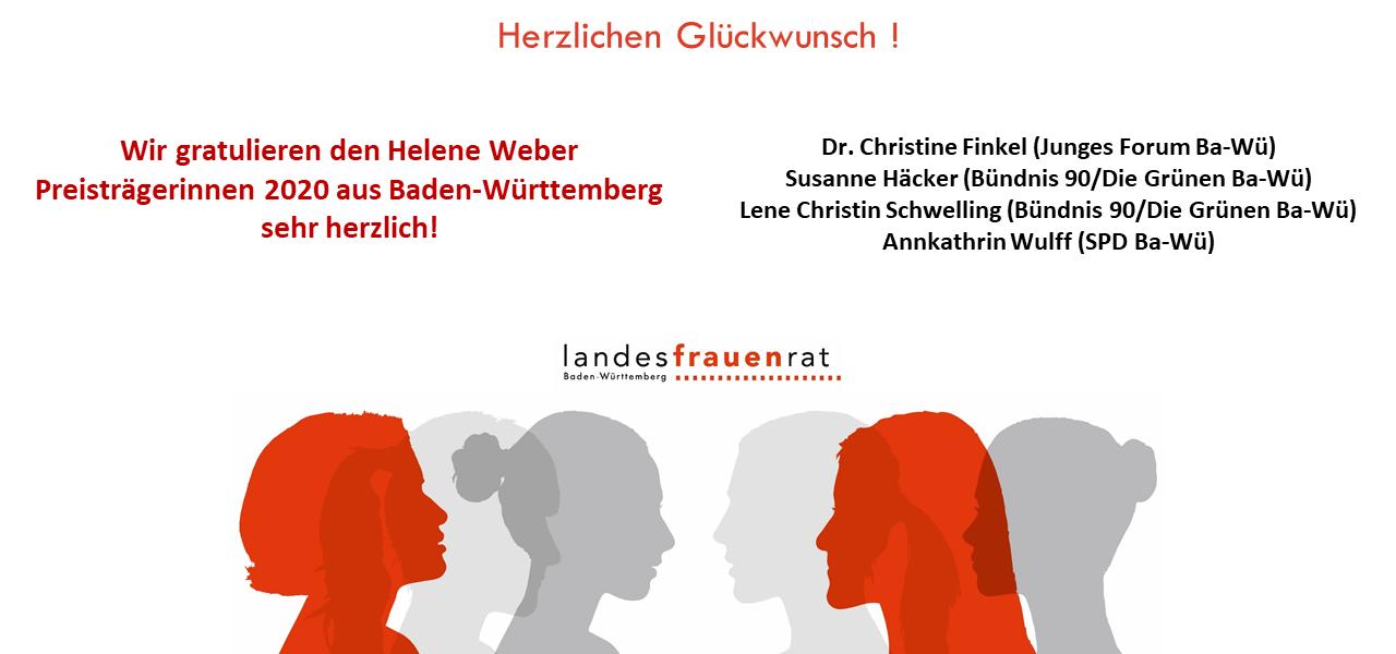 Herzlichen Glückwunsch ! Der Landesfrauenrat Baden-Württemberg gratuliert den Helene Weber Preisträgerinnen 2020 sehr herzlich!