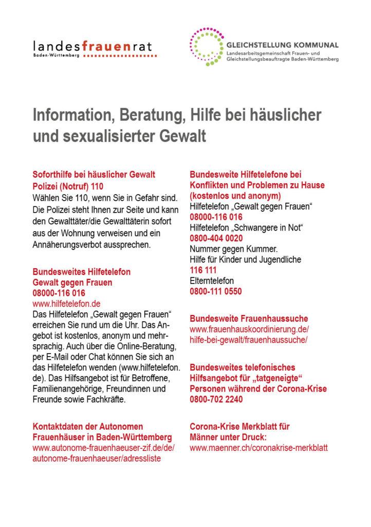 Information, Beratung, Hilfe bei häuslicher Gewalt